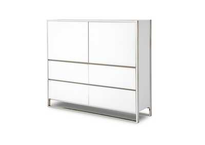 Image for State St. Glossy White Metal Storage Cabinet