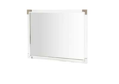 Image for State St. Glossy White Metal Wall Mirror
