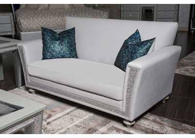 Scotts Square Dove Loveseat w/Crystals