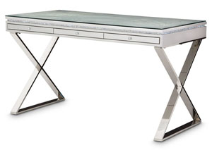 Melrose Plaza Dove Writing Desk w/Glass Top (2 Pc)