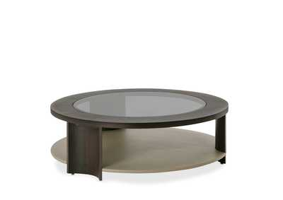 21 Cosmopolitan Pebble Grain  Round Cocktail Table Taupe/Umber