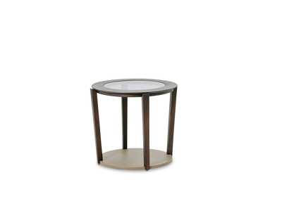 21 Cosmopolitan Round Pebble Grain End Table Taupe/Umber
