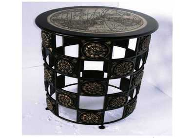 Discoveries Round Accent Table w/Decorative Stone Top & Metal Base