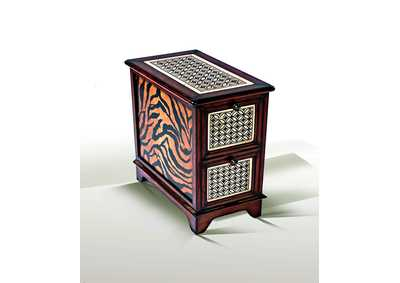 Discoveries Chair Side Table w/Hand Painting & Stone Inlay