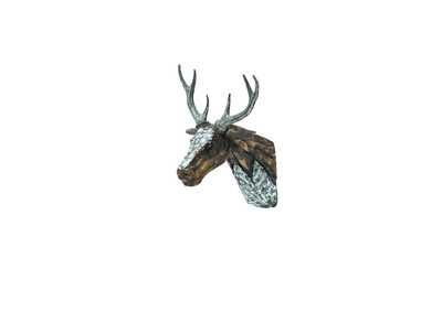Discoveries Brown Deer Head w/Hand Applied Aluminum Antlers & Accents
