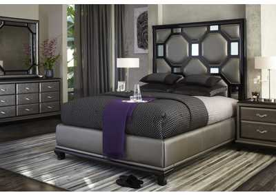 After Eight Black Onyx California King Upholstered Bed