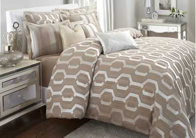 Image for Como Taupe 9 pc. Queen Comforter Set