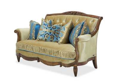 Adrianna Gold & Blue Loveseat