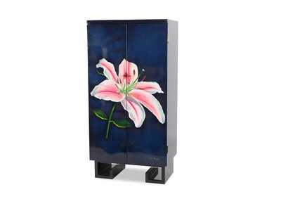 Image for Illusions Accents Blue Wine Cabinet W/ Pink Flower Art