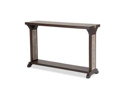 Brown Console Table w/Stone Etched Inlay