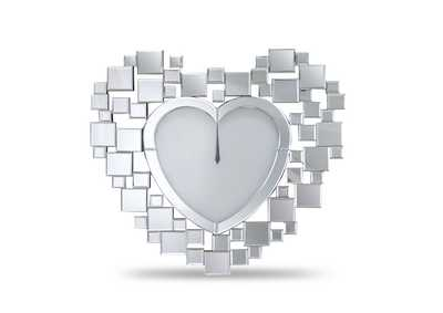 Image for Montreal Silver Heart Shaped Clock