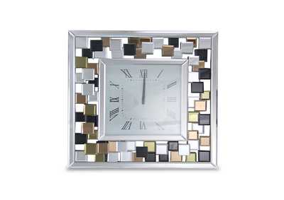 Image for Montreal Silver Square Clock w/Colored Accents