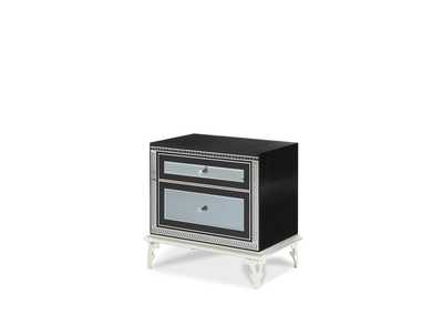Hollywood Swank Starry Night Black Iguana Upholstered Nightstand