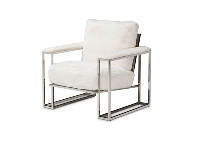 Image for Astro White Faux Fur Chair W/ Stainless Steel Frame