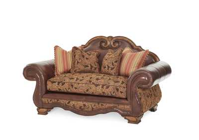 Image for Tuscano Brick Leather/Fabric High Back Loveseat
