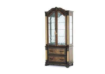 Victoria Palace Light Espresso Display Cabinet w/Lateral File Library Unit