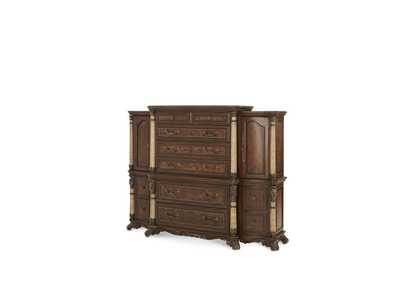 Victoria Palace Light Espresso Drawer Chest w/Right & Left Pier