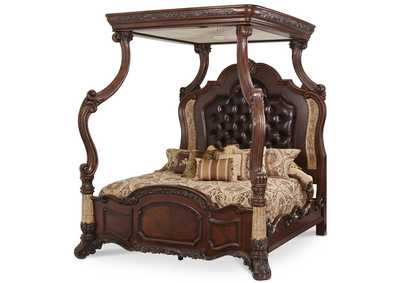 Victoria Palace Light Espresso Eastern King Canopy Bed