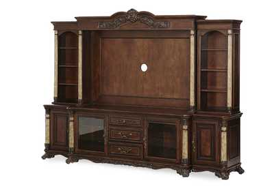 Victoria Palace Light Espresso Entertainment Unit w/2 Side Piers (4 Pc)