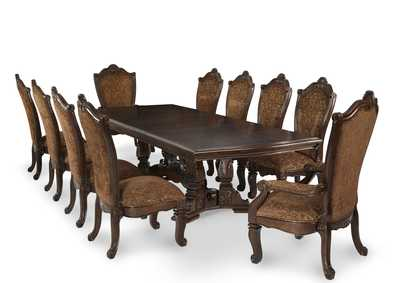 Windsor Court Vintage Fruitwood Dining Table w/2 Arm Chairs & 8 Side Chairs