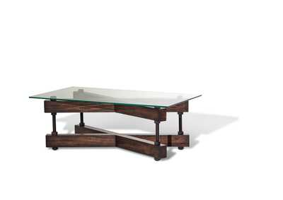 Image for Brown Retangular Glass Top Cocktail Table