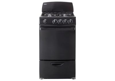 20 in. Wide Gas Range w/2.4 Cu. Ft. Capacity Solid-Door Oven in Black
