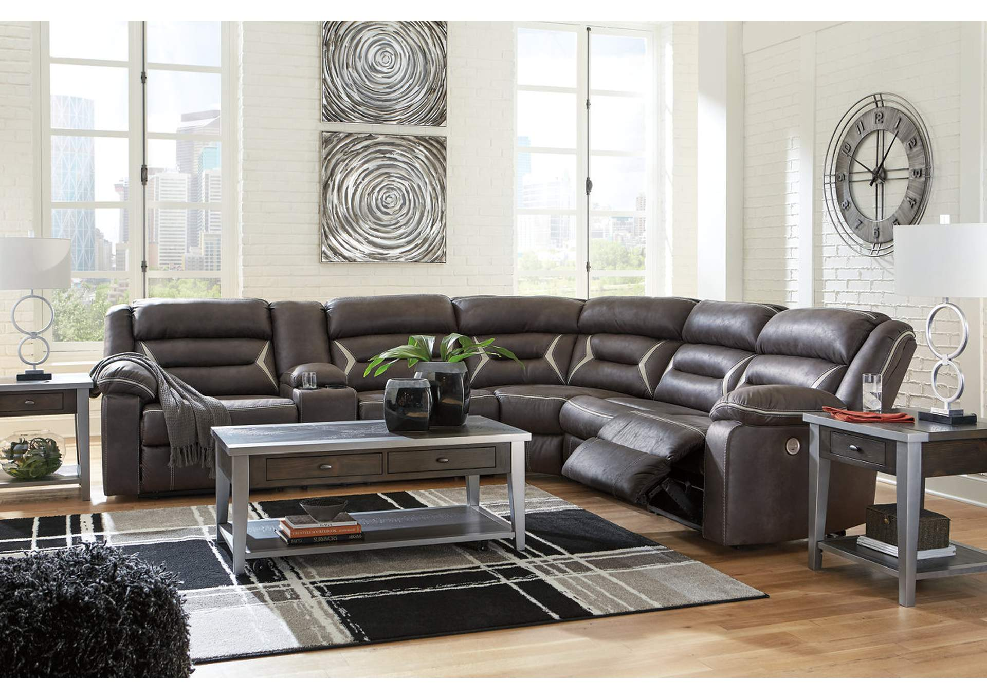 Kincord Midnight RAF Power Reclining Sectional w/Console,Signature Design By Ashley
