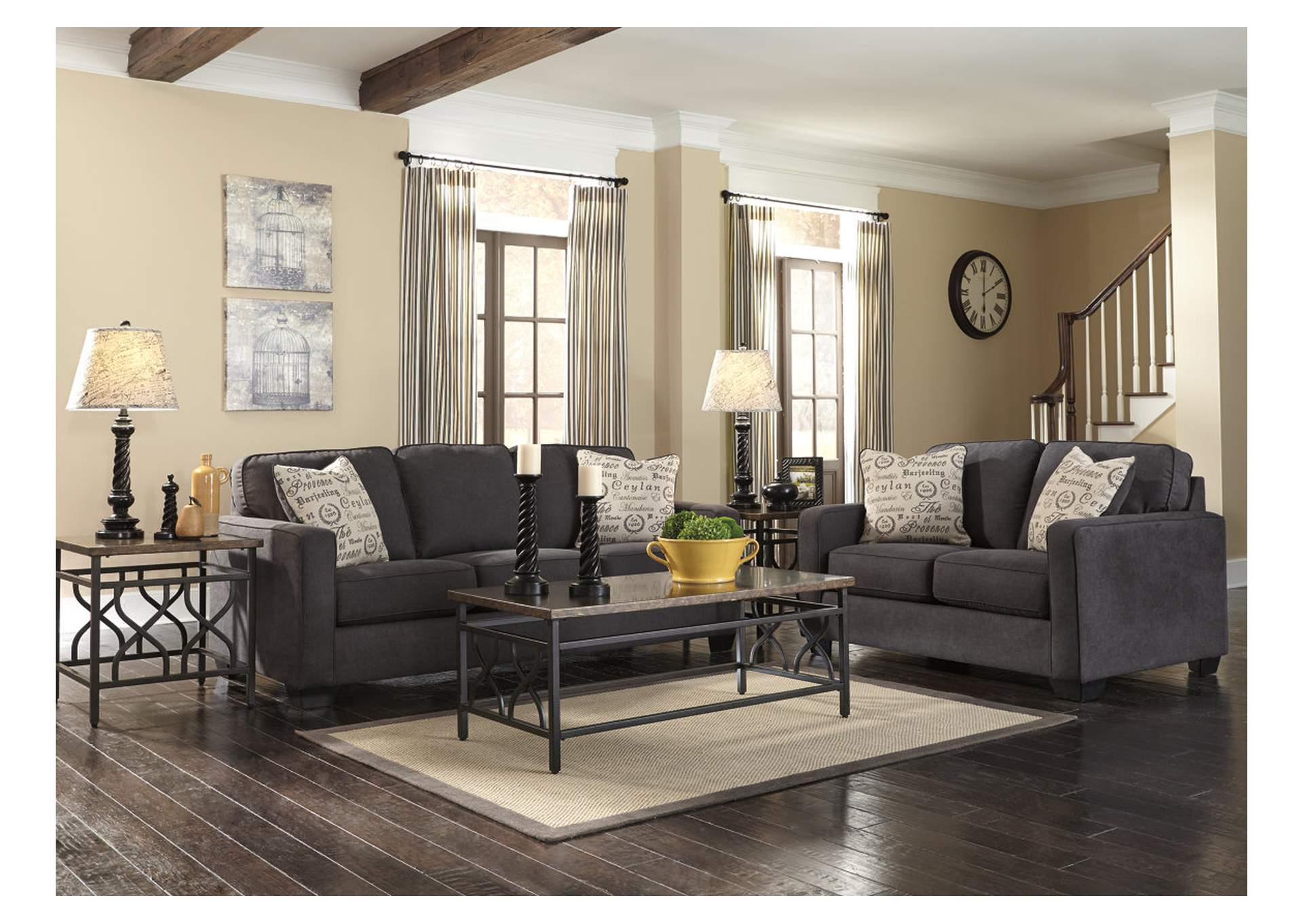 Alenya Charcoal Sofa Loveseat