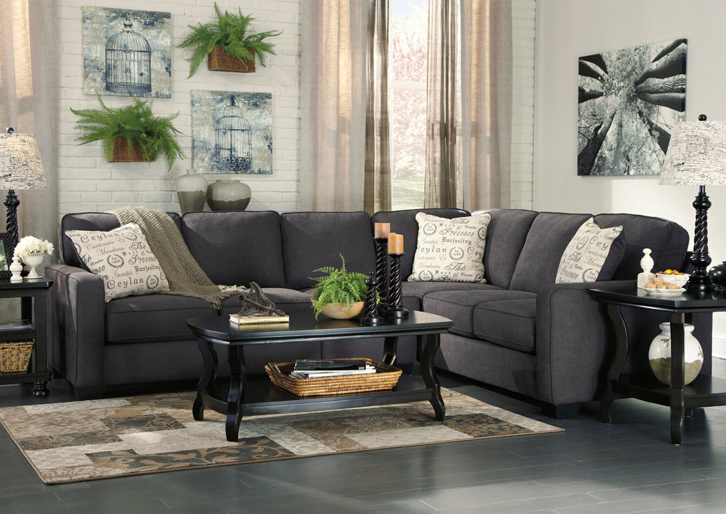 Merveilleux Alenya Charcoal Extended Sectional,Signature Design By Ashley