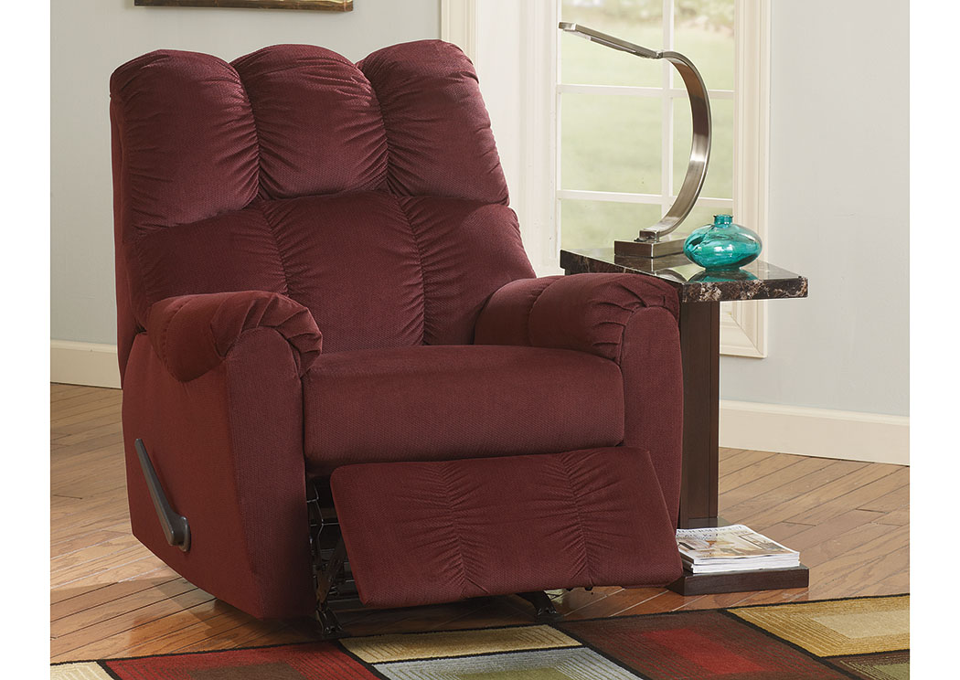 Uebingers Furniture Co Raulo Burgundy Rocker Recliner