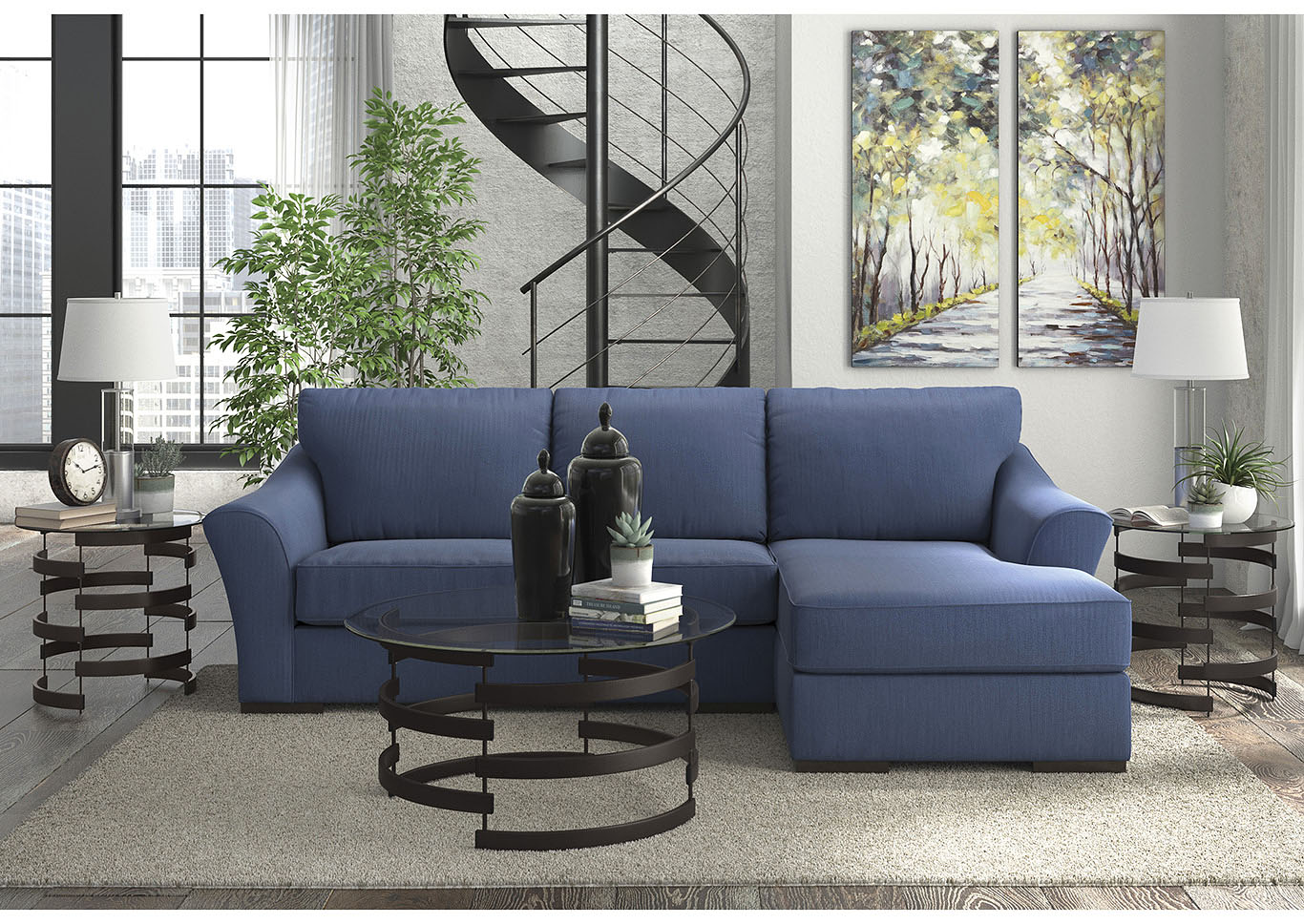 Awesome 545029 Bantry Nuvella Indigo Right Facing Corner Chaise Gmtry Best Dining Table And Chair Ideas Images Gmtryco