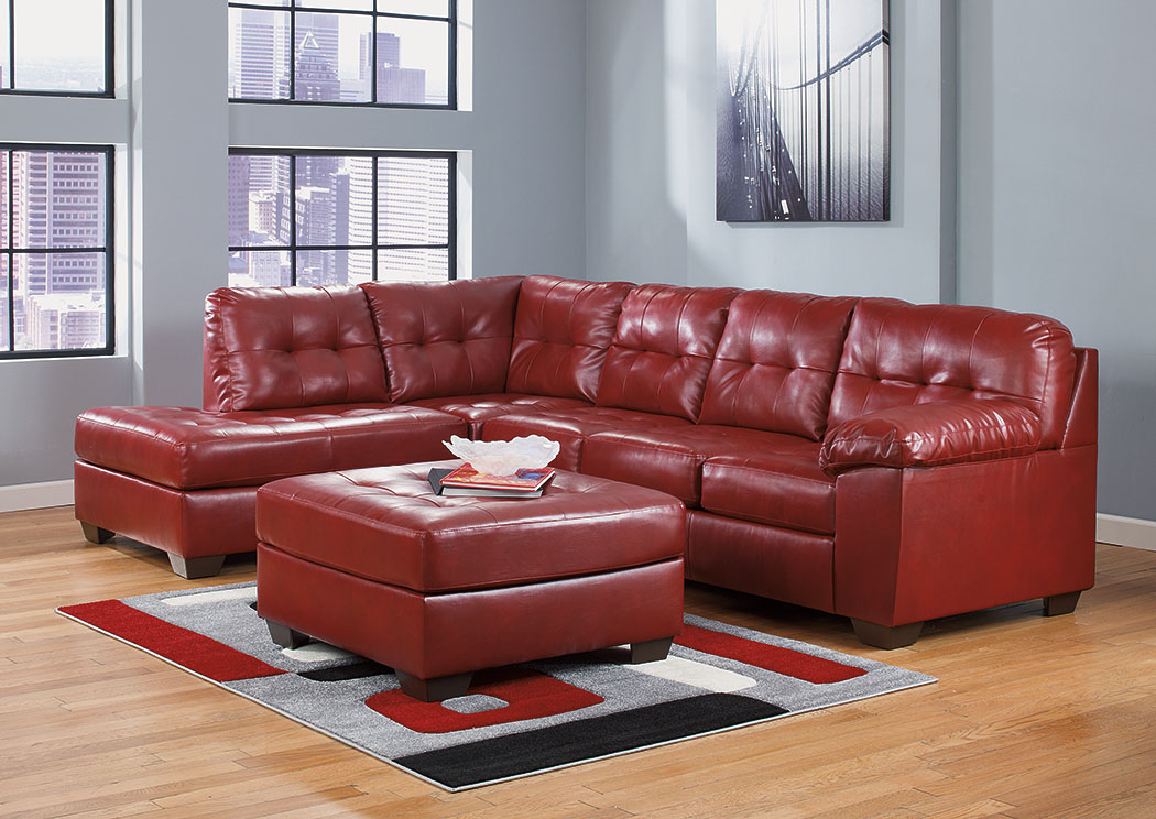 Alliston DuraBlend Red Left Facing Chaise End Sectional & Oversized Accent Ottoman,Signature Design By Ashley