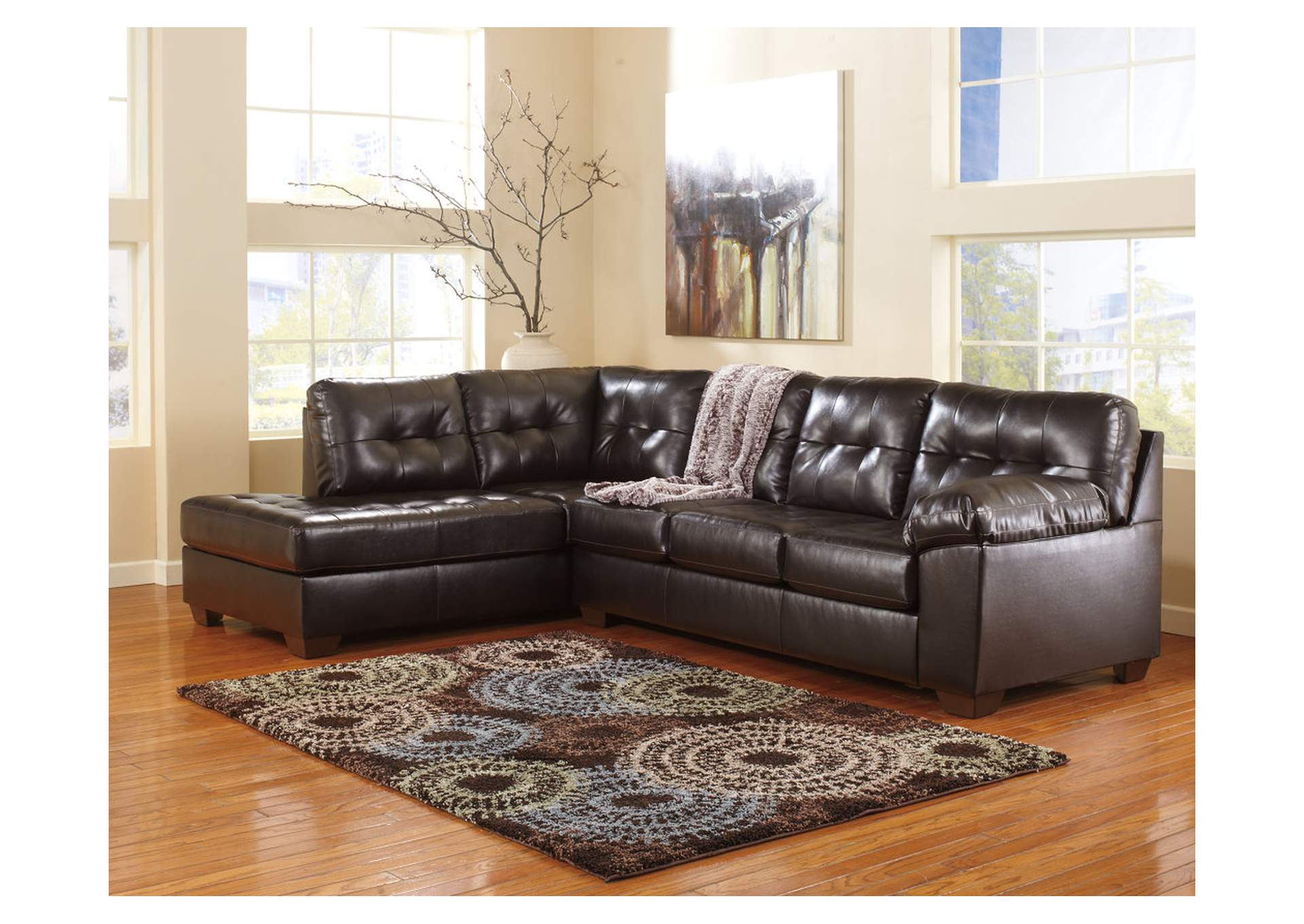 Alliston DuraBlend Chocolate Left Facing Chaise End Sectional,Signature Design By Ashley
