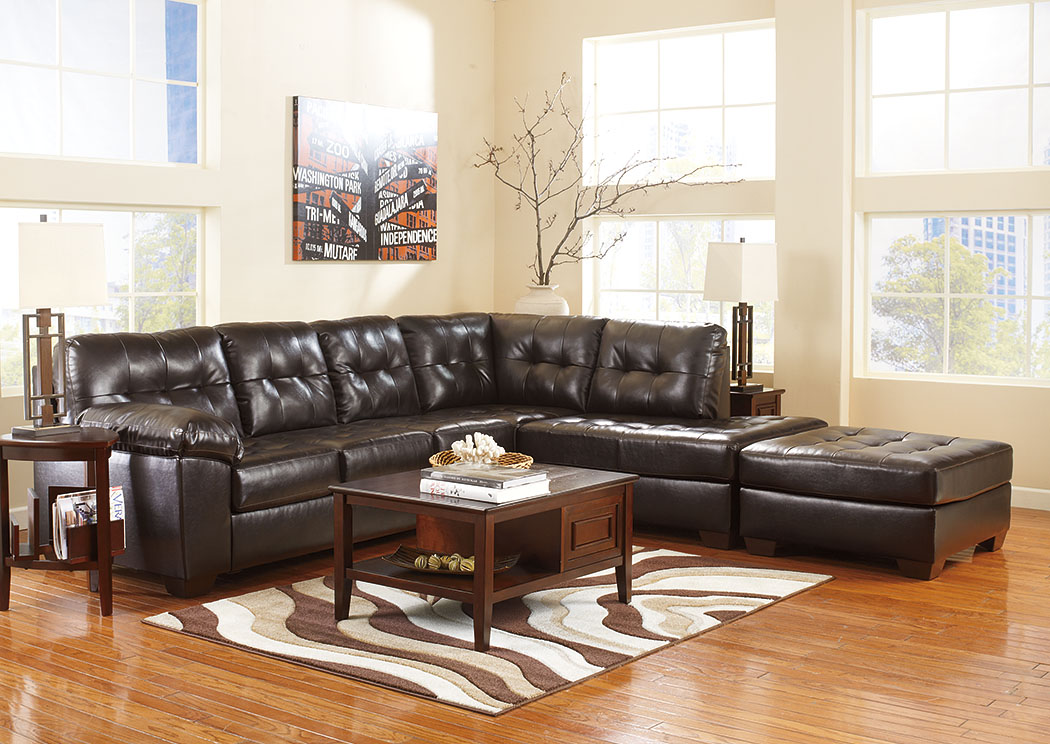 Alliston DuraBlend Chocolate RAF Chaise End Sectional & Oversized Accent Ottoman,Signature Design By Ashley