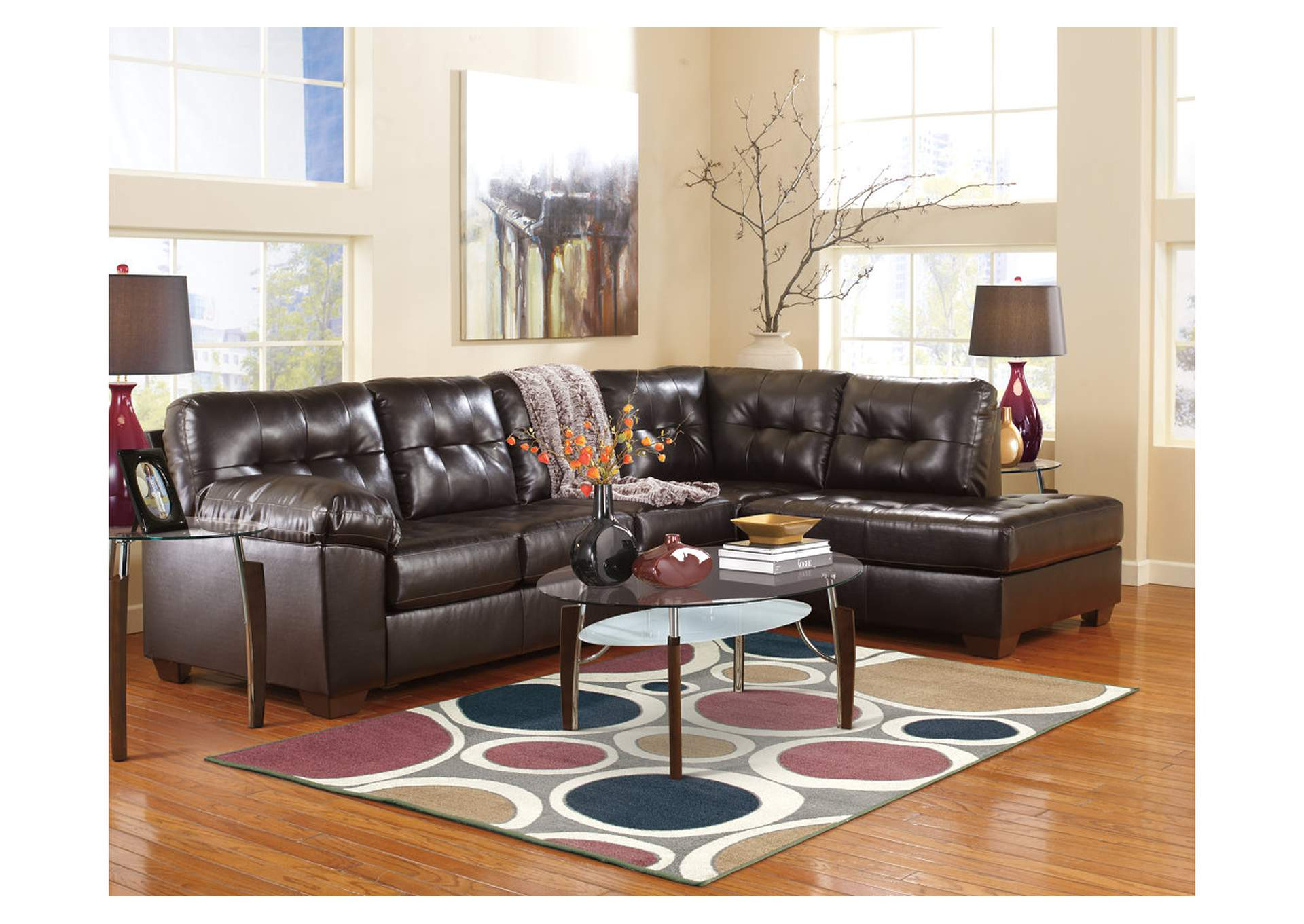 Alliston DuraBlend Chocolate RAF Chaise Sectional,Signature Design By Ashley