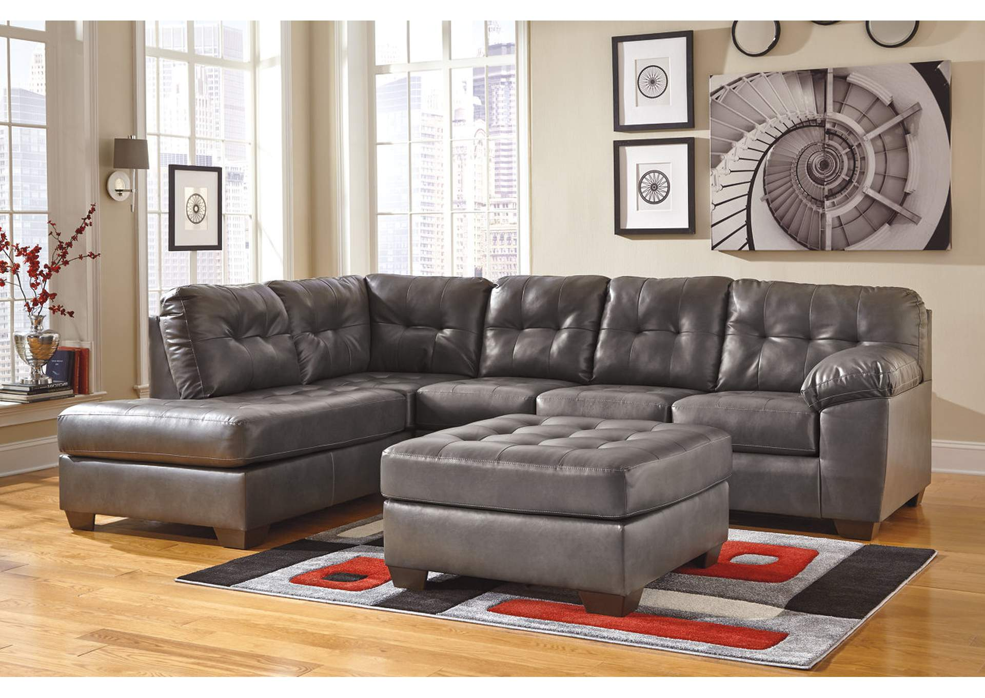 Alliston DuraBlend Gray Left Facing Chaise End Sectional & Oversized Accent Ottoman,Signature Design By Ashley