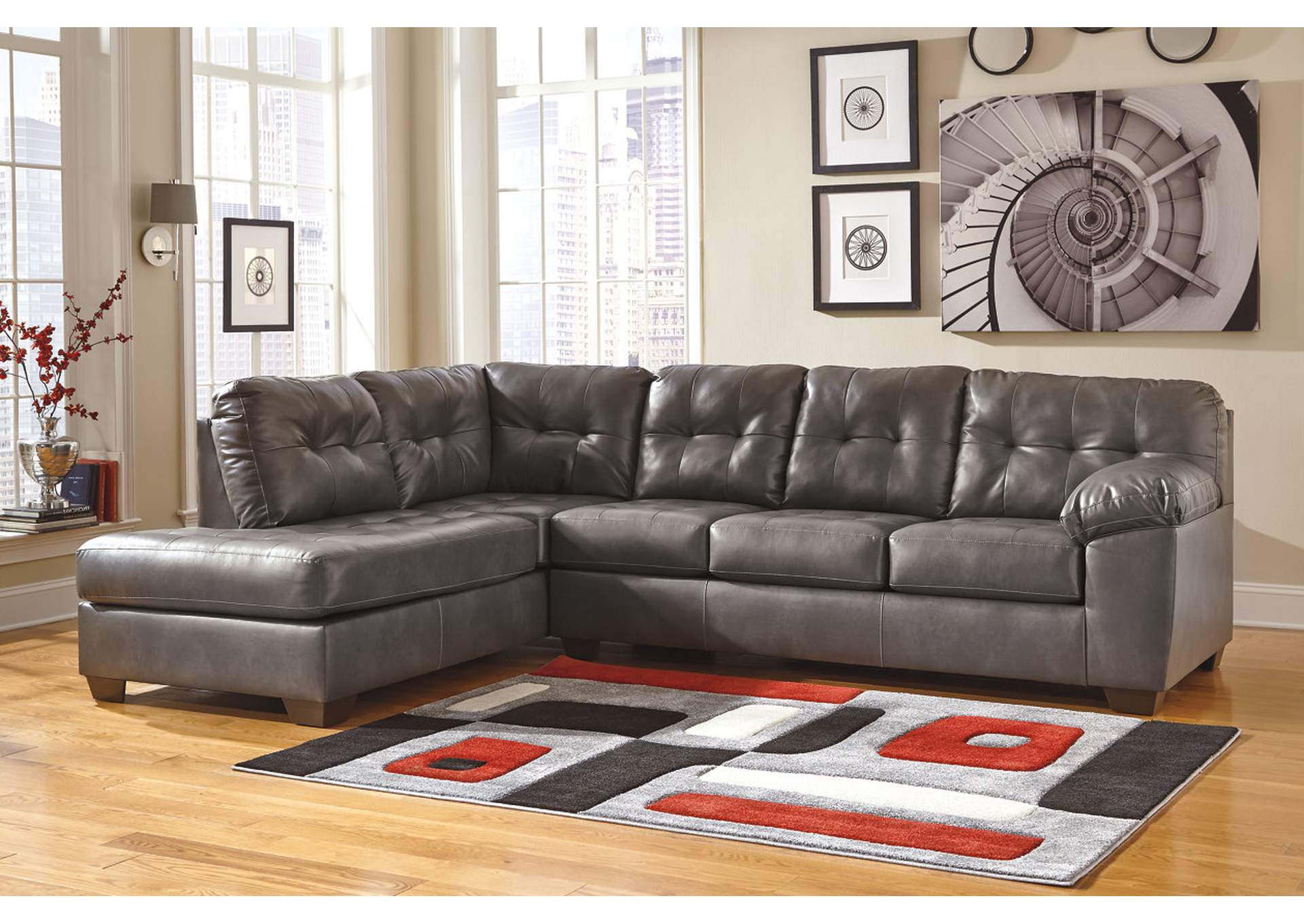 Alliston DuraBlend Gray Left Facing Chaise End Sectional,Signature Design By Ashley