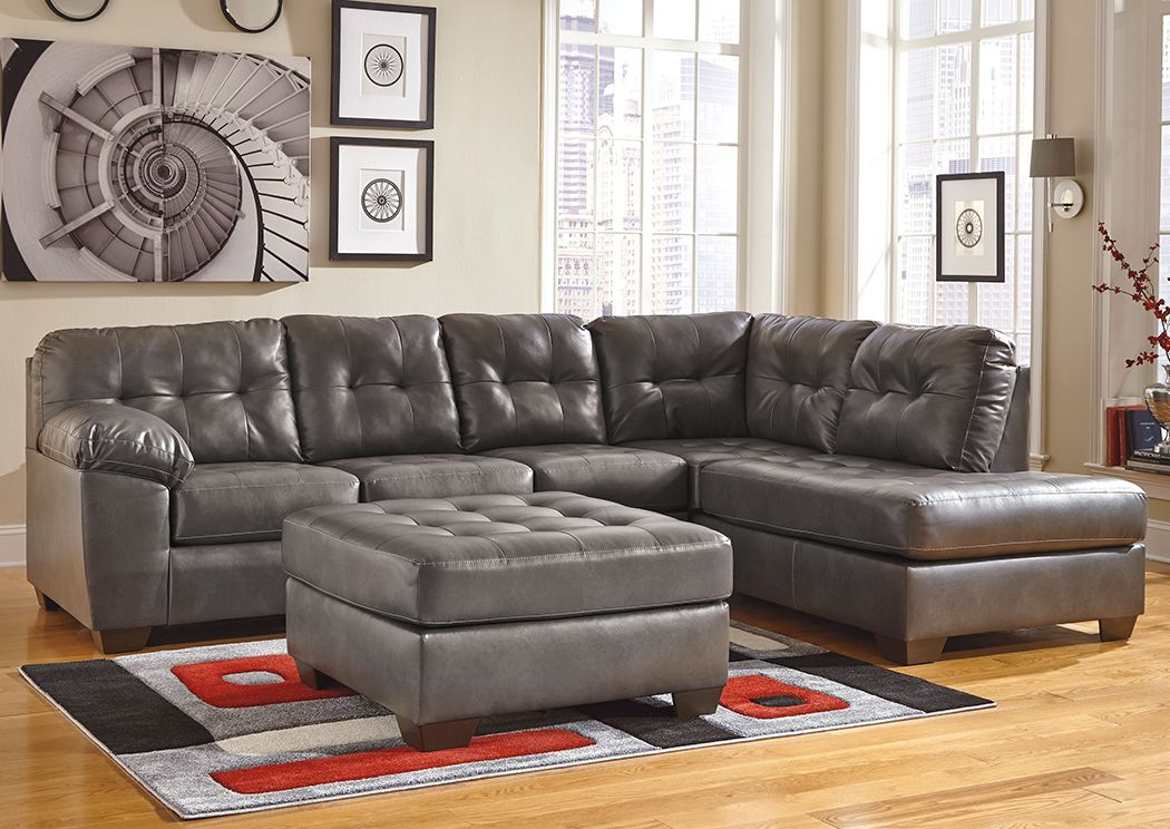 Alliston DuraBlend Gray RAF Chaise Sectional & Oversized Accent Ottoman,Signature Design By Ashley