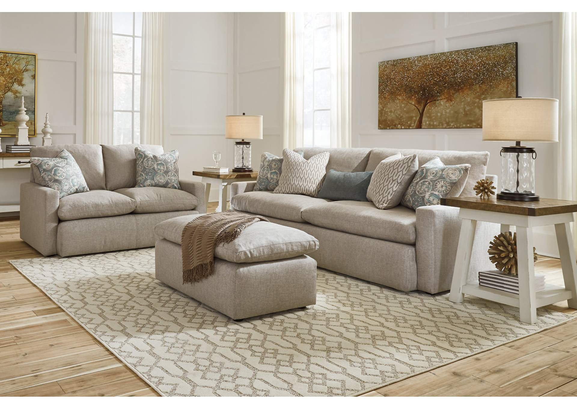 Melilla Ash Oversized Accent Ottoman,Signature Design By Ashley