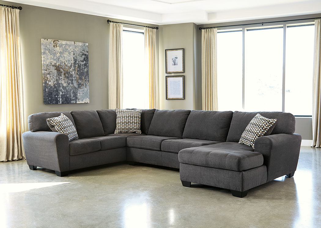 Ivan smith sorenton slate right facing chaise sectional for Apartment sectional with chaise