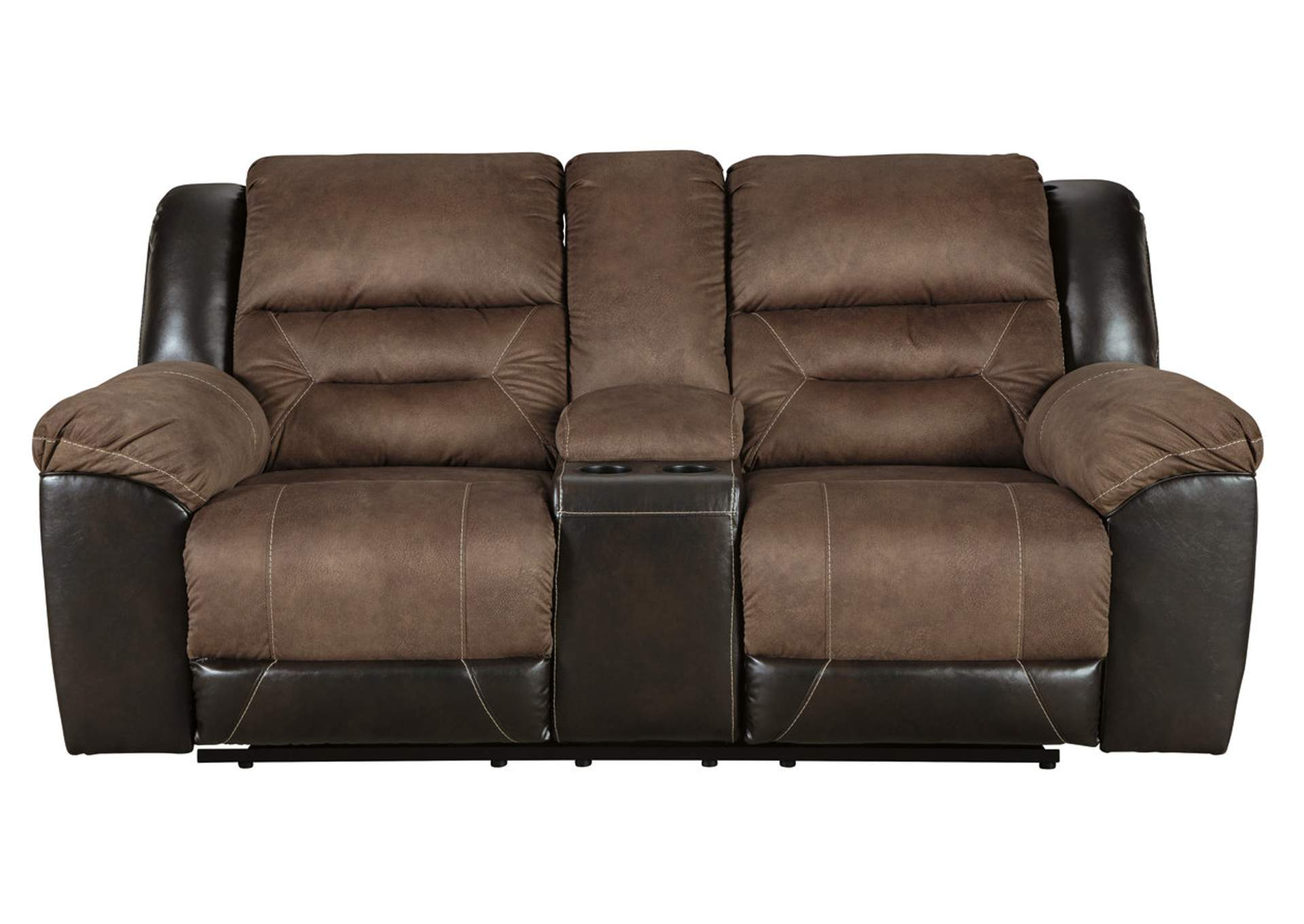 Earhart Chestnut Double Reclining Loveseat w/Console,Signature Design By Ashley