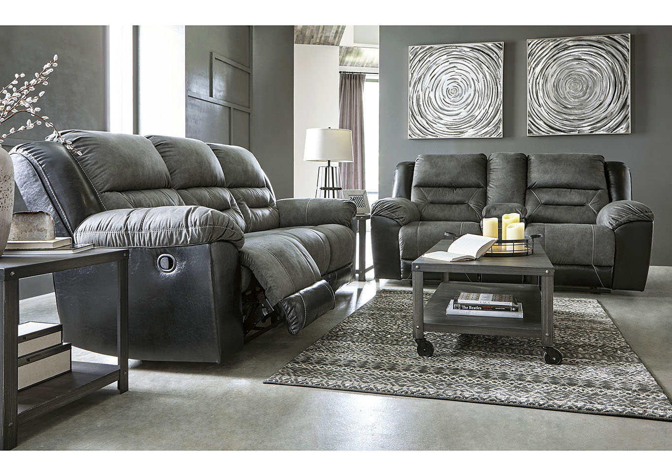 Earhart Slate Reclining Sofa & Loveseat w/Console,Signature Design By Ashley