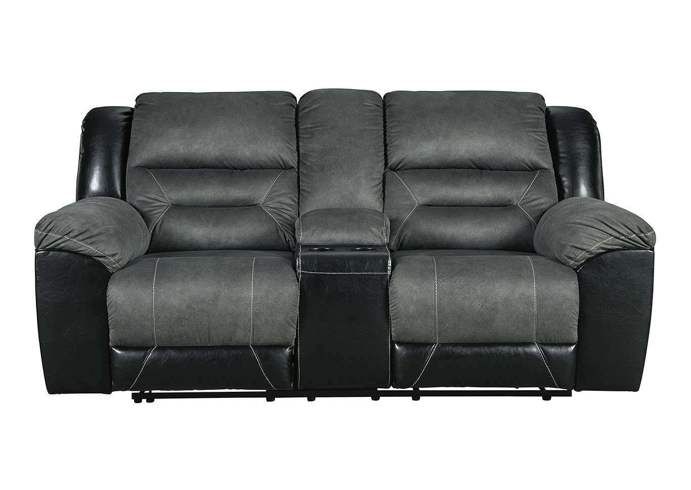 Earhart Slate Double Reclining Loveseat w/Console,Signature Design By Ashley