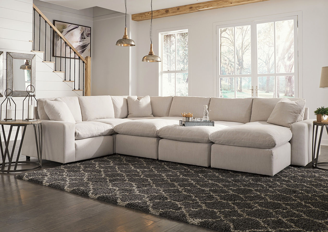 Savesto Ivory 6 Piece Sectional w/3 Ottomans,Signature Design By Ashley