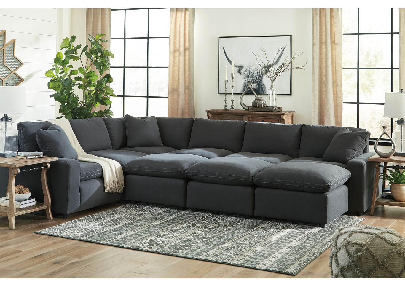 Savesto Charcoal 6 Piece Sectional w/3 Ottomans,Signature Design By Ashley