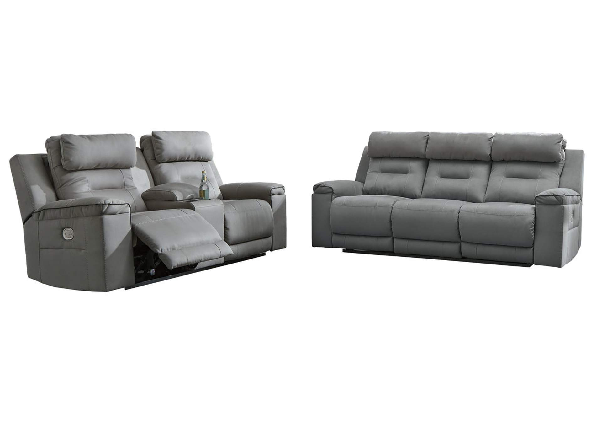 Trampton Smoke Power Reclining Sofa & Loveseat w/Console & Adjustable Headrest,Signature Design By Ashley
