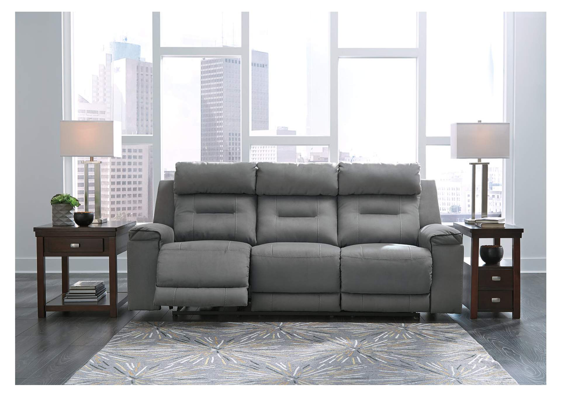 Trampton Smoke Power Reclining Sofa w/Adjustable Headrest,Signature Design By Ashley