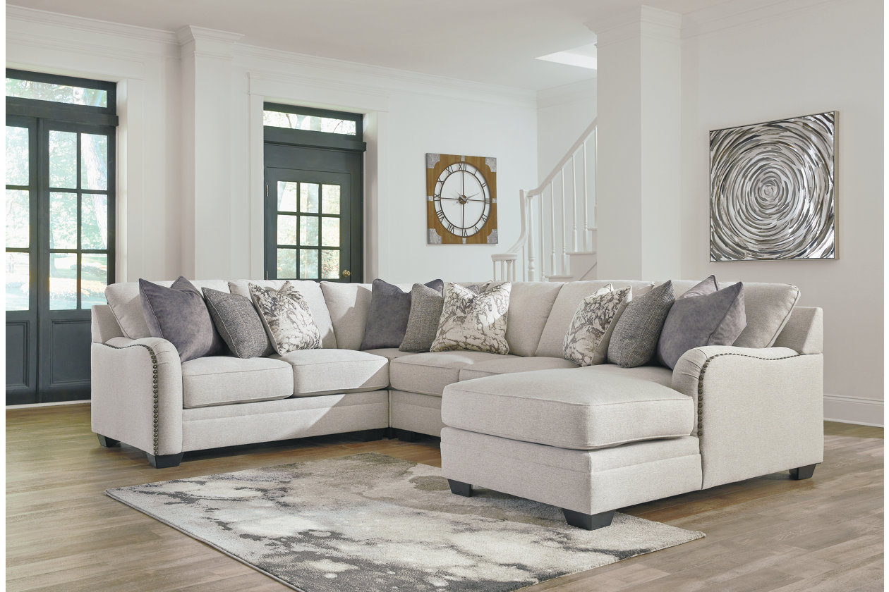Dellara Chalk 4 Piece RAF Chaise Sectional,Benchcraft