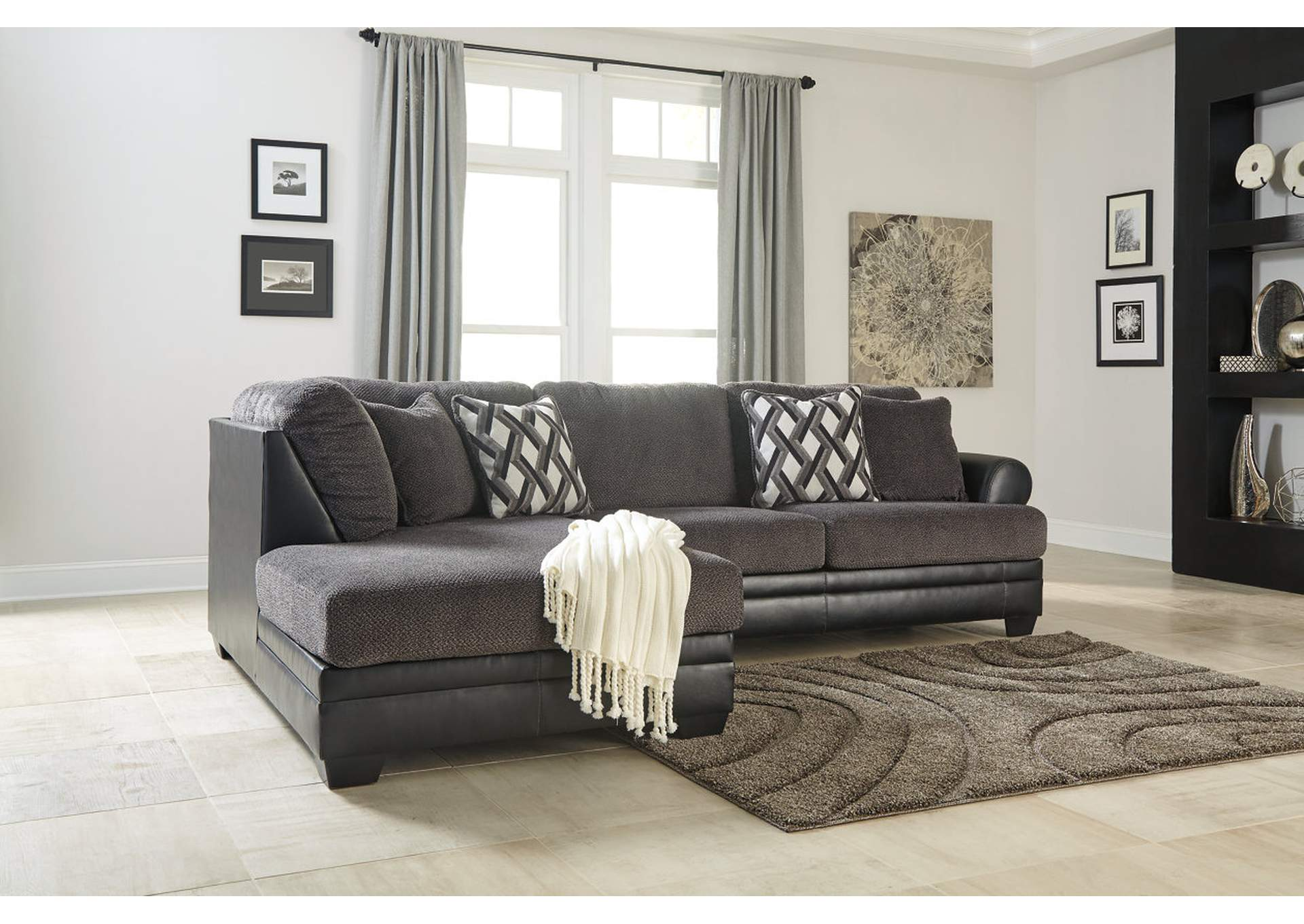 Compass Furniture Kumasi Smoke Sectional W Left Facing