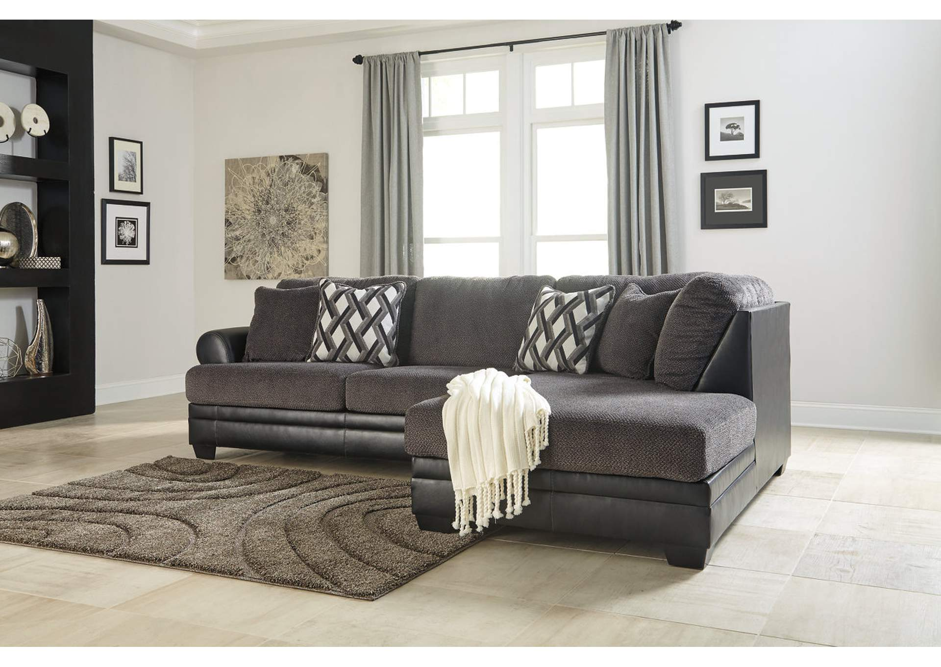 Kumasi Smoke RAF Chaise Sectional,Benchcraft